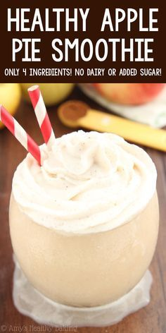 Healthy Apple Pie Smoothie – SO good! It tastes just like the pie & is only 73 calories! ♡ healthy apple breakfast smoothie recipe. simple clean eating apple smoothie. low calorie apple smoothie no added sugar. Low Calorie Smoothie Recipes, Ninja Smoothie Recipes, Breakfast Smoothie Recipes, Apple Dessert Recipes, Apple Recipes, Healthy Smoothies, Blender Recipes, Healthy Desserts, Healthy Recipes