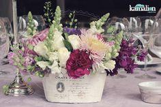 www.kamalion.com.mx - Centro de Mesa / Centerpiece / Lila & Gris / Lilac & Gray / Vintage / Rustic Decor / Wedding / Boda / Bautizo.