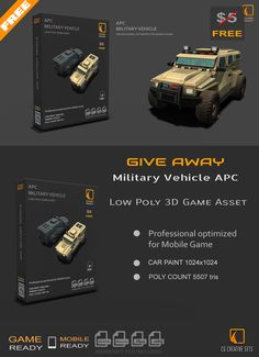 Free low poly game asset Military Vehicle APC for Mobile Game Unity Games, Unity 3d, Armored Car, Low Poly Games, Low Poly 3d Models, Game Engine, Unreal Engine, Game Assets, Swat
