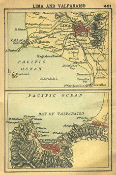 Map of LIMA and VALPARAISO, 1902