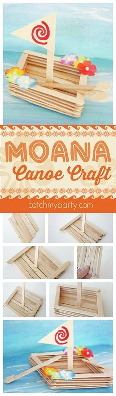Fun Moana canoe craft perfect for a Moana birthday party activity, party favor, or rainy day craft with your kids. See more Moana party ideas at CatchMyParty.com.