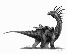 My Old west dino series I've been working on. by Shaun Keenan on ArtStation. Dinosaur Drawing, Dinosaur Art, Jurassic World, Old West, Animal Drawings, Cool Drawings, Dragons, Cool Monsters, Extinct Animals