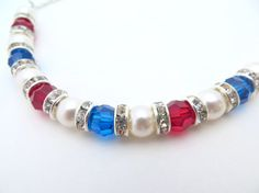 Patriotic Necklace Red White and Blue by LucidDreamsJewelry, $24.00
