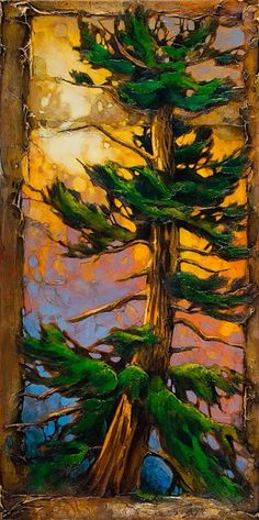 David Langevin - The Pine-Up and the Thumb Prints // David Langevin lives and paints in British Columbia Landscape Art, Landscape Paintings, Tree Paintings, Tree Art, Beautiful Paintings, Land Scape, Painting Inspiration, Zentangle, Cool Art