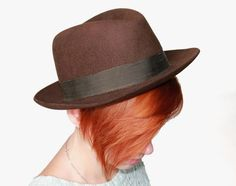 50's Fedora Hat - Chocolate Brown Fur Felt - Vintage - Made in USSR - Homburg Hat - Unisex Hat - Med Men Hat - Fall Fashion on Etsy, $49.00