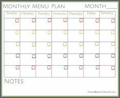 printable monthly menu planner