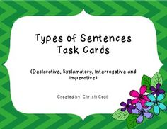There are many ways to use these cards. You can use them with students as a warm up or in small groups. You could use them in partnerships or with students that need a reteach. I love using task cards in my classroom. I frequently use them in stations or with students that finish early. Kinds Of Sentences, Task Cards, Small Groups, Teacher Pay Teachers, Students, Classroom, Warm, Types Of Sentences, Class Room