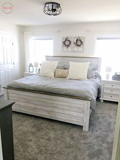 Farmhouse bedroom makeover with hypoallergenic carpet and color schemes.