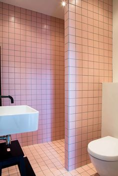 Gravity Home: Small Pink Tiled Bathroom in a Historic Family Home in Amsterdam Humble House, Gravity Home, Bathroom Pink, Bathrooms, Bathroom Inspiration, Amsterdam, Tiles, Home And Family, Lamps