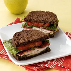 Pesto Turkey Club    This lightened sandwich swaps cheese for decadent pesto, which is full of metabolism-boosting olive oil and pine nuts. Add in an apple, and you've got a delicious lunch for less than 400 calories.    Ingredients: Prepared pesto, pumpernickel bread, turkey, turkey bacon, romaine lettuce leaves, tomato, apple