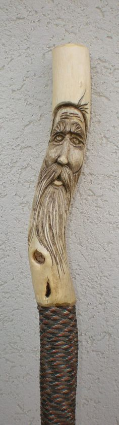 Walking Stick  Wood Spirit by PepperCarving on Etsy, $50.00