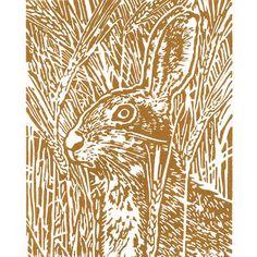 Brown Hare art - Hare in the Barley - Original Hand Pulled Linocut Print by littleRamstudio
