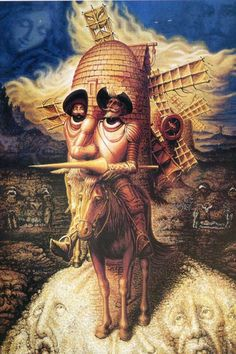 Optical Illusion Pictures and Illusion Art Hidden faces Dali Several faces are hidden in this art illusion picture of Don Quixote from Salvador Dali, the Spanish surrealist. Scary Optical Illusions, Face Illusions, Optical Illusion Paintings, Art Optical, Illusions Mind, Funny Illusions, Illusion Kunst, Illusion Art, Dom Quixote