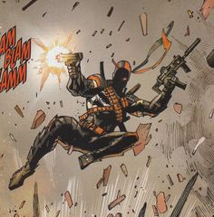 Today we talk about Slade Wilson a.a Deathstroke the Terminator: an extremely feared and deadly assassin who somehow keeps getting bested by the Teen Titans. Great at murder, bad at parenting, it's Slade! Dc Deathstroke, Deathstroke The Terminator, Deadshot, Dc Comic Books, Comic Art, I Am Batman, Superman, Justice League Villain, Dc Comics