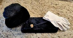 Vintage Lot 40s GARAY Black Velvet Evening Bag, Feather Hat, White Gloves SWING WWII War Time Handbag Clutch Purse Cocktail Glam Deco Vtg      This is a lot for three vintage 1940's must haves!     1.  A black velvet clutch purse made by Garay with a gold done snap clasp that is shaped like a lady bug and studded with rhinestones, none are missing.  Has a double flap opening and interior is lined with black silky rayon and features a gold trimmed inner pocket and a cloth Garay tag.  Clutch…