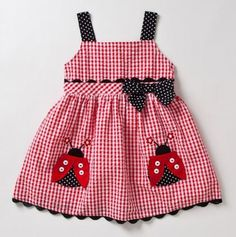 this is for emma and rachael Infant Lady Bug Gingham Dress & Panty - Samara Dresses Little Dresses, Little Girl Dresses, Girls Dresses, Fashion Kids, Fashion Women, Toddler Dress, Baby Dress, Sewing For Kids, Sewing Ideas