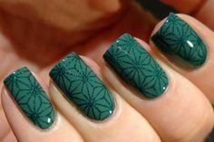 Dark green stamping mani :: one1lady.com :: #nail #nails #nailart #manicure