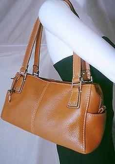 Fossil Satchel Handbag Brown Soft Pebbled Leather