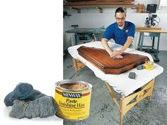"""Tip - Give your wood a final rubdown with wax and extra-fine steel wool to remove """"nibs"""" caused by dust particles. This will polish the last coat and scrape off the nibs leaving a silky smooth finish. Woodworking Finishes, Woodworking Techniques, Woodworking Projects, Wood Projects, Woodworking Magazine, Woodworking Workshop, Sweep The Floor, Got Wood, Home Fix"""