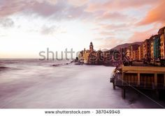 pink sunset over Camogli - stock photo