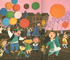 illustration for a Golden Book, by Mary Blair (pretty pink skies!)