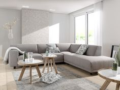 Strak hoeksalon met moderne lijnen. Kies uit verschillende opstellingen, bekledingen en pootjes. Dit moderne hoeksalon is dus helemaal personaliseerbaar. Living Room Sofa Design, Living Room Flooring, Living Room Remodel, Cozy Living Rooms, New Living Room, Living Room Interior, Home And Living, Living Room Designs, Living Room Decor