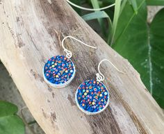 Gift idea: pretty blue floral drop earrings. Handmade on wood with high quality ink. Earrings handmade | statement jewellery. | Find more gifting ideas at http://www.etsy.com/shop/lovebirdaccessories