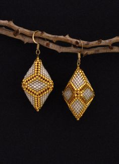 Beaded Diamond Shaped Earrings Off-white Cream by HeidiRathbone