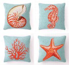Blue & Coral Hook Pillows