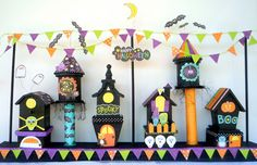 halloween village sing scrapbook paper and birdhouses from the dollar store