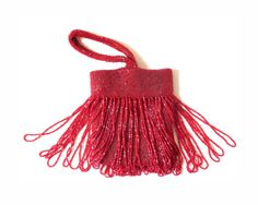 Art Deco Beaded Bag Red Glass Fringe and Beads by bigbangzero, $95.00