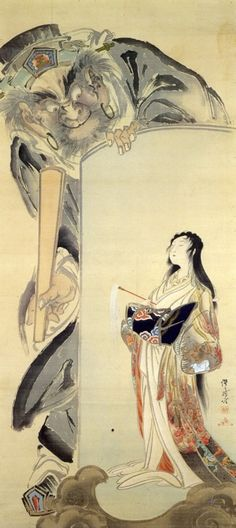 Enma, the King of Hell and a Courtesan by Kawanabe Kyosai