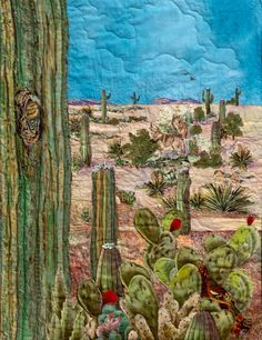 Artist Jeanine Malaney display the fabric art landscape quilt Saguaro in Bloom! a quilt of a cactus blooming a bird in a Saguaro Southwest Quilts, Southwest Art, Watercolor Quilt, Watercolor Landscape, Landscape Art Quilts, Landscape Paintings, Textiles, Desert Art, Mosaics