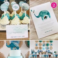 Moroccan Elephant Baby Shower, shared by Hostess with the Mostess. Love the color and designs!