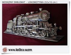 Duża mosiężna lokomotywa - Upominek dla kolejarza - Zawieszka emblemat