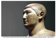Prince Hemiunu, the architect of the Great Pyramid of Giza. Ca. 2570 BC. The extremely well-preserved seated statue is notable for its unusual realism, with Hemiunu's features only lightly stylised, and clearly based on his actual appearance. Equally, his body is frankly shown as flabby, with a notable accumulation of fat in the pectoral region.Hermiunu was son of Prince Nefermaat and his wife Itet grandson of Sneferu  and relative of Khufu,the Old Kingdom pharaoh.
