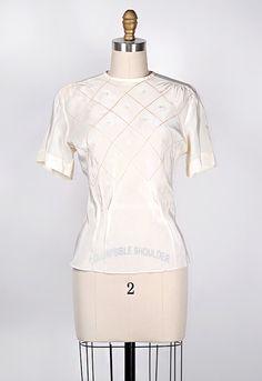 vintage 1940s white silk top with lattice design