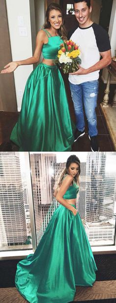 Green Two Piece A Line Sweep Train Sleeveless Mid Back Prom Dress,Party Dress P125 #LongPromDresses, #CheapPromDress, #PartyDresses, #PromGowns, #GownsProm, #EveningDresses, #CheapPromDresses, #DressesforGirls, #PromDressUK, #PromSuit, #PromDressBrand, #PromDressStore, # Party Dress #graduationdresses