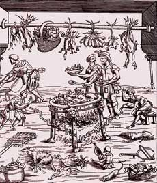 Italian Kitchen-Woodcut from Banchetti compositioni di Vivendi-Christoforo di Messisburgo-Ferrara, 1549