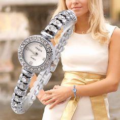 40351d08550 Find More Relógios de Pulso Fashion - Feminino Information about Luxo  Mulheres Pedrinhas Relógios Sparkling Rodada