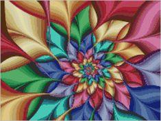 Colorburst Fractal Flower Swirl Cross Stitch Kit - Modern Cross Stitch Kit