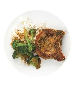 Pork Chops With Garlicky Broccoli from realsimple.com #myplate #protein #vegetables