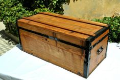 Antique Wooden Trunk, Treasure Chest, Steamer Trunk, Pirate Chest, Trunk Chest, Storage Trunk, Wooden Chest, Trunk Coffe Table, Old Chest