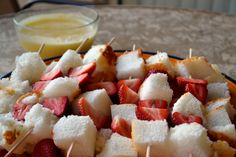 Strawberry Shortcake Kabobs- a light and healthy dessert... serve with cool whip in the middle