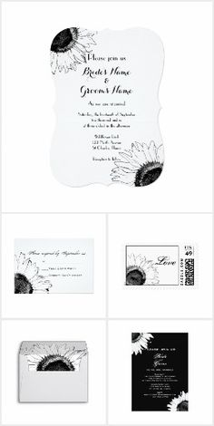 Chic Sunflowers WEDDING SET COLLECTION Black and White Floral Flowers Modern Sunflower Wedding Stationery Invites Announcements Invitations Envelopes Postage Stamps RSVP Thank You Cards & More!