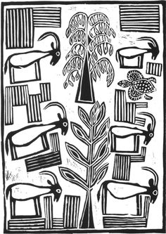 "Six Buck, lino print by San/Bushman artist Flai Shipipa. ""It has been difficult to adapt to this new way of life.  My artwork is the knowled..."
