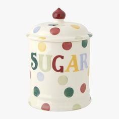 Polka Dot Text Sugar Storage Jar