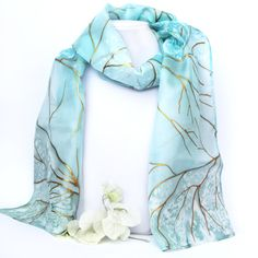 ON SALE Jewelry hand painted silk scarf with bead work by LIAKURZ