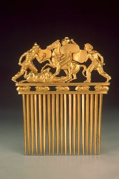 Comb with Scythians in Battle, Late 5th - early 4th century BC 	  				  			 					 			 			Russia (now Ukraine)  The Hermitage Museum
