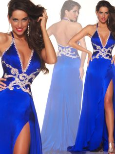 Ideal for a blonde or a red head, this Mac Duggal bright royal blue pageant dress 50053P features a low cut halter top, swirled beadwork design at the ruched waist and a flowing silk chiffon skirt that makes this the winning pageant dress for your big night!